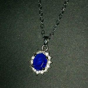 Jewelry - Beautiful Blue Stone Necklace Diamond Rhinestones